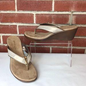 NWOT Aerosoles Gold Platform Wedge Thong Sandals